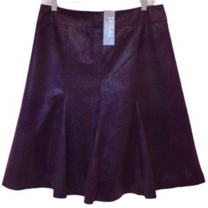 "Tribal Faux Distressed Suede Skirt in ""Grape"" NWT"